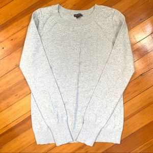 EXPRESS Gray Rhinestone Embellished Crew Sweater
